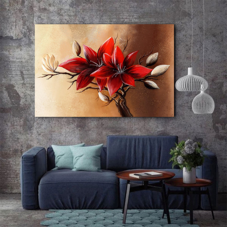 Tablou Canvas - Floral red [2]