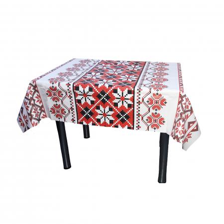 Față de masă, model traditional, pvc, alb + roșu + negru, 140 x 100 cm [0]