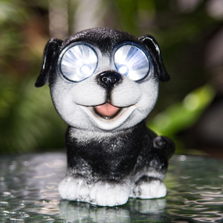 Lampă solară câine, negru,15 cm [0]