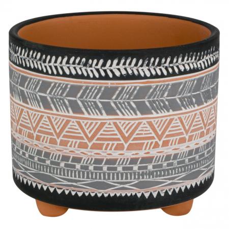 Ghiveci ceramic gri-negru-12x10 cm [0]
