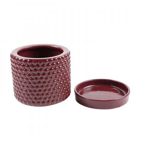 Ghiveci cu suport,rotund,roșu,14.5 x 14 cm [0]