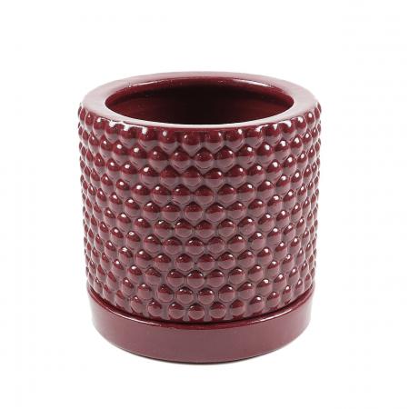 Ghiveci cu suport,rotund,roșu,14.5 x 14 cm [1]