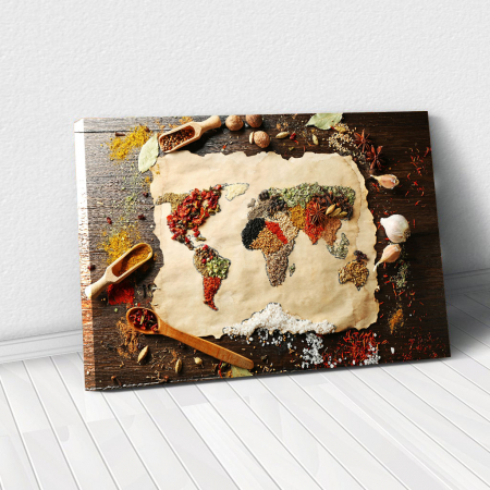 Tablou Canvas - Spices world map [0]