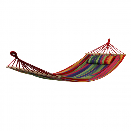 Hamac cu bare din lemn și pernă colorată. 100/80 x 200 cm.