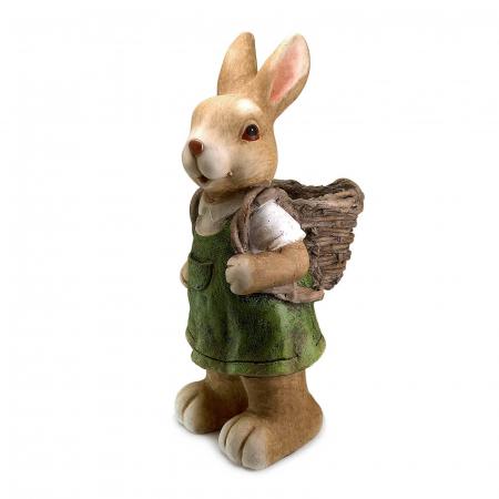 Ghiveci decorativ iepure cu coș, ceramică, 22 x 18.5 x 46 cm0