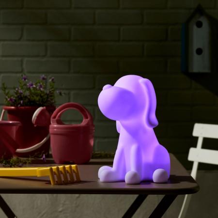 Decorațiune solară LED, albă,câine în culori2