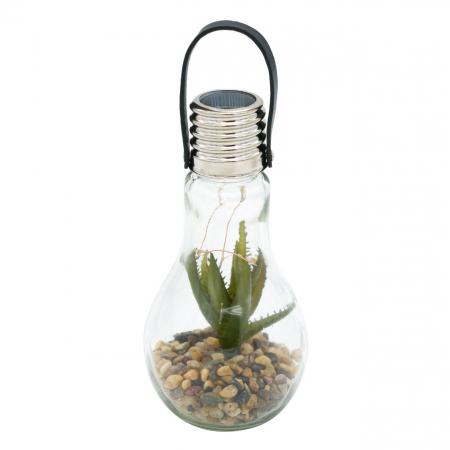 Lampă solară din sticlă cu flori și pietre  9x18 cm [0]
