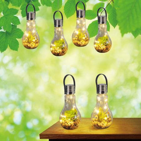 Lampă solară din sticlă cu flori și pietre  9x18 cm [1]
