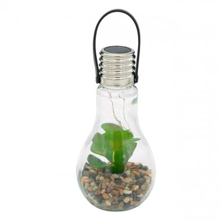 Lampă solară din sticlă cu flori și pietre  9x18 cm [3]