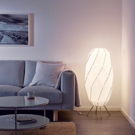 Lampadar Hera, bază din lemn, alb - 1m1