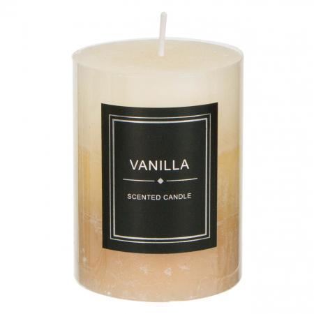 Lumânare parfumată bej decorativă cu miros de vanilie0