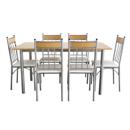 Set Sophie masă cu 6 scaune tapițate, bucătărie, bej [0]
