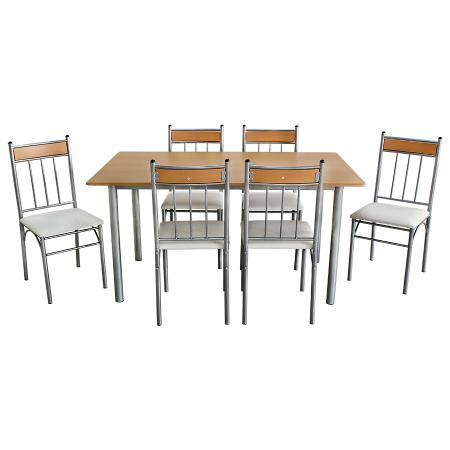Set Sophie masă cu 6 scaune tapițate, bucătărie, bej [1]