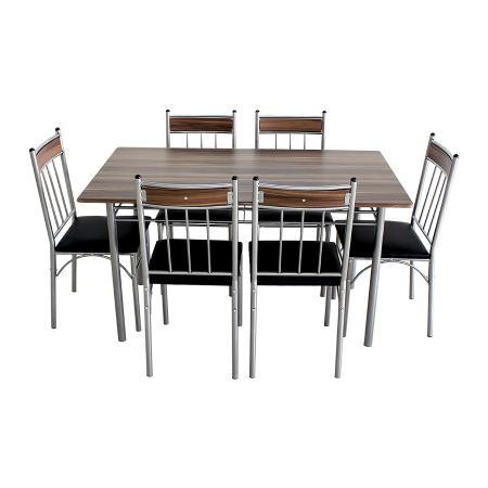 Set Sophie masă cu 6 scaune tapițate, bucătărie, maro+negru [0]