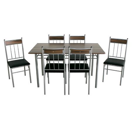 Set Sophie masă cu 6 scaune tapițate, bucătărie, maro+negru [1]