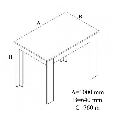 Masă bucătărie fixă,dreptunghiulară de 4 persoane 100 x 64 x 76 cm [1]