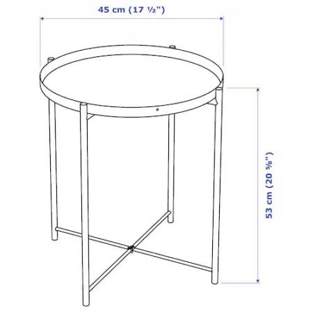 Masă servit, oțel, albă - 53cm [6]