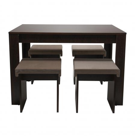Set de masă cu 4 tabureți tapițați [0]