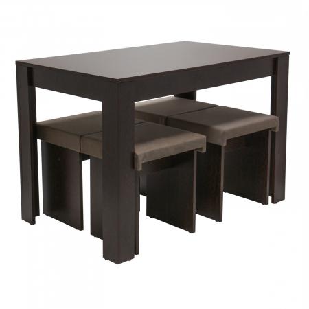 Set de masă cu 4 tabureți tapițați [3]