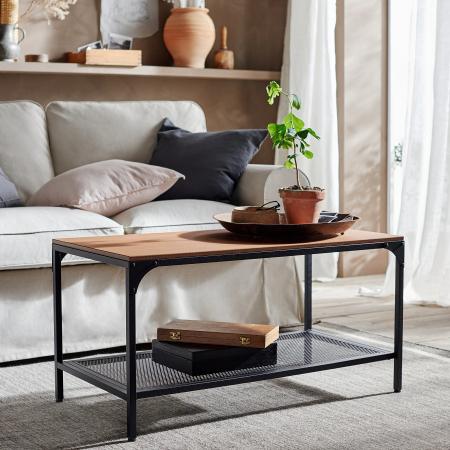 Măsuță de cafea din lemn, negru-maro - 90x46cm [3]
