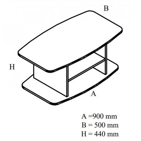 Măsuță living dreptunghiulară 90 x 50 x 44 cm3