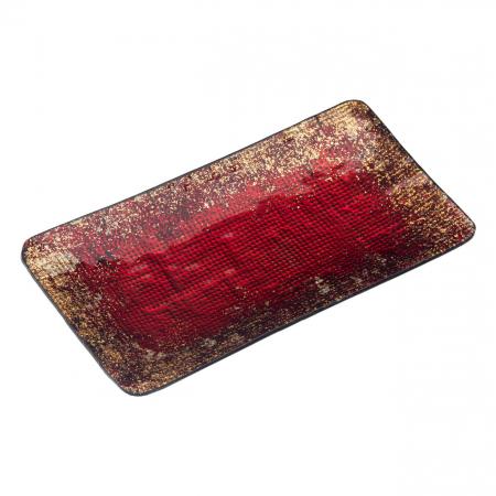 Platou decorativ din sticlă, roșu - 28cm1