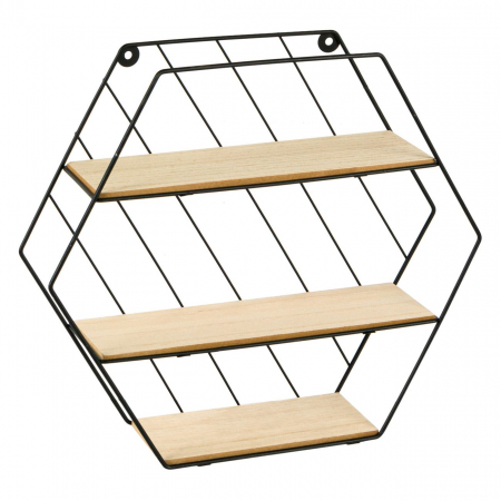 Raft decorativ 3 niveluri din Metal & lemn 35x9x30,5 cm [3]