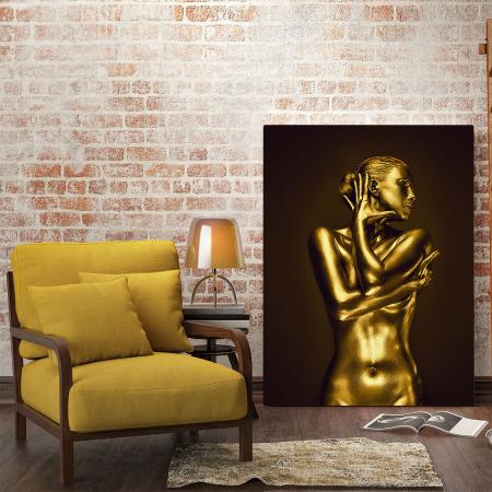 Tablou Canvas - Golden Nude Pose 11