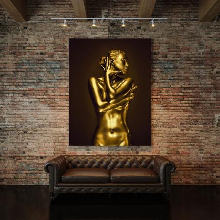 Tablou Canvas - Golden Nude Pose 13