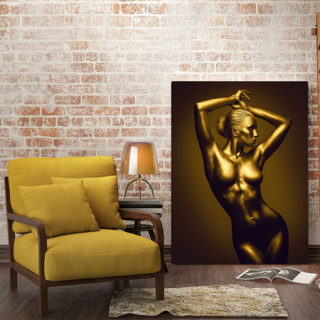 Tablou Canvas - Golden Nude Pose 5 [1]