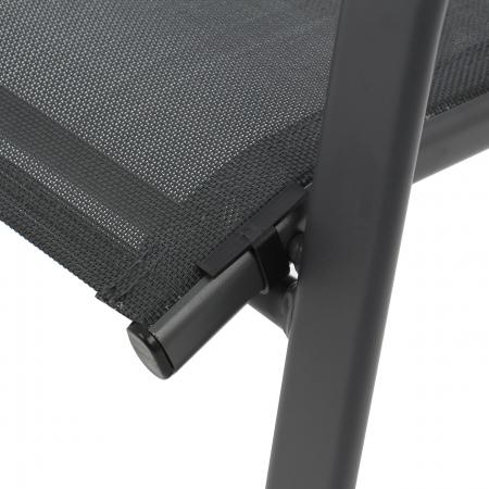 Scaun pentru grădină, metal + textilen,negru2