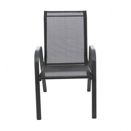 Scaun pentru grădină, metal + textilen,negru0