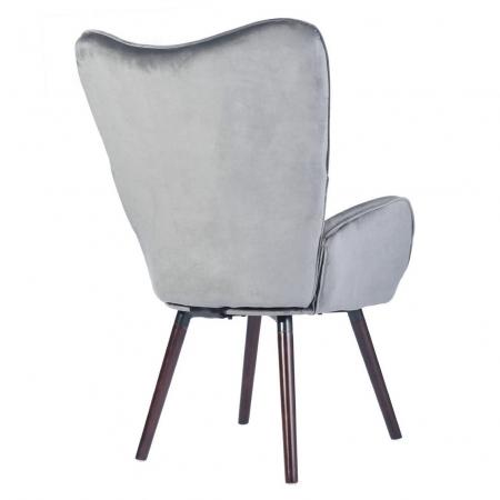 Scaun bucătărie / living fix Custio, tapițat, lemn fag + cadru metal + material textil gri2