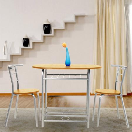 Set masă ovală fixă cu 2 scaune, bucatarie, fag, 1C1