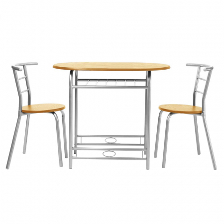 Set masă ovală fixă cu 2 scaune, bucatarie, fag, 1C0