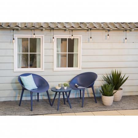 Set mobilier grădină din plastic,albastru din 3 piese1