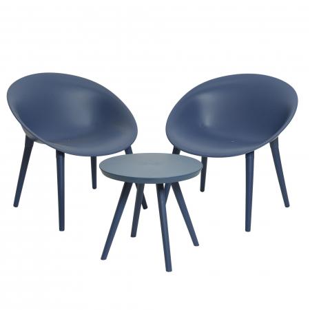 Set mobilier grădină din plastic,albastru din 3 piese0