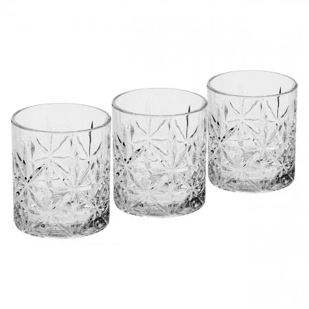 Set de 3 pahare din sticlă,pentru whisky,330 ml0