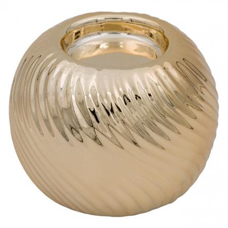 Suport din porțelan pentru lumânare auriu,7.5x7 cm0