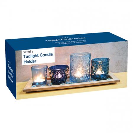 Bază pentru lumânări cu pahare cu model albastre,33x13x1.7 cm3