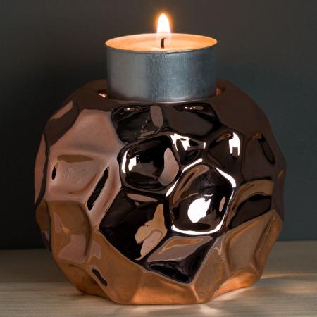 Suport din porțelan pentru lumânare roz-auriu,8.5x7 cm1