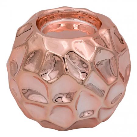 Suport din porțelan pentru lumânare roz-auriu,8.5x7 cm [0]