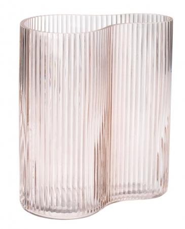 Vază decorativă din sticlă, roz cu striații 18x21cm [0]