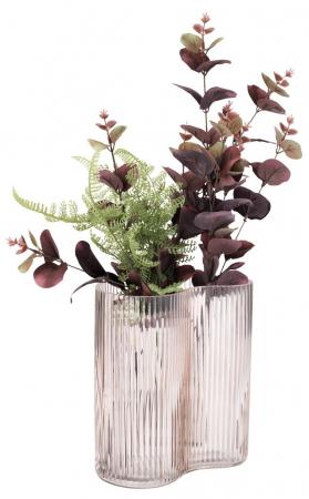 Vază decorativă din sticlă, roz cu striații 18x21cm [1]