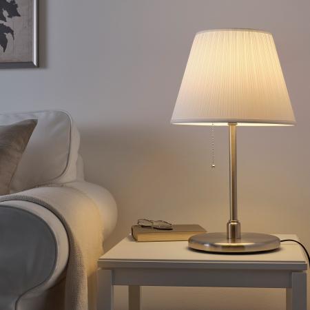 Veioză Briana cu cadru metalic, albă - 50cm3