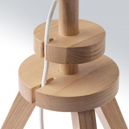 Veioză Cora cu baza din lemn, albă - 57cm2