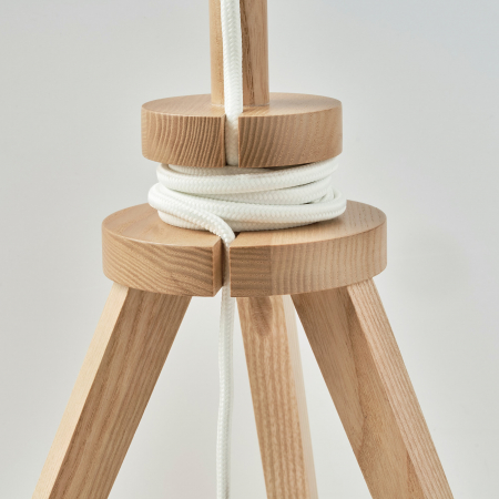 Veioză Cora cu baza din lemn, albă - 57cm3