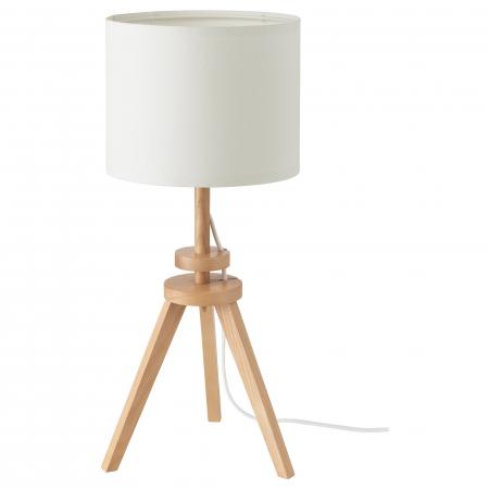 Veioză Cora cu baza din lemn, albă - 57cm0