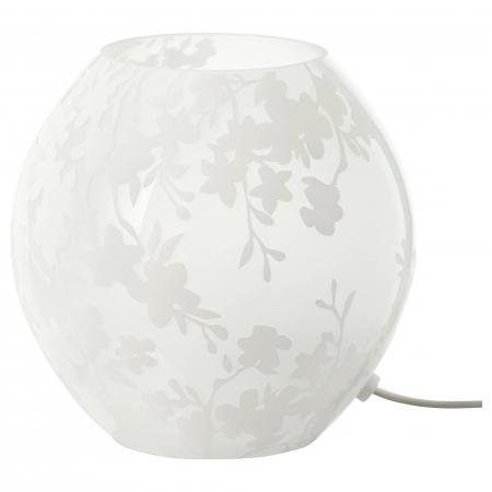 Veioză decorativă cu model, sticlă, albă - 18cm0