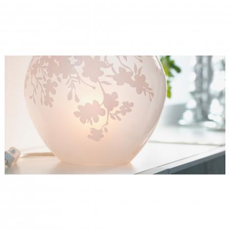 Veioză decorativă cu model, sticlă, albă - 18cm4